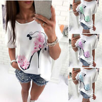 Women Fashion Short Sleeve Tops High Heels Printed Casual Loose Blouse T-Shirt