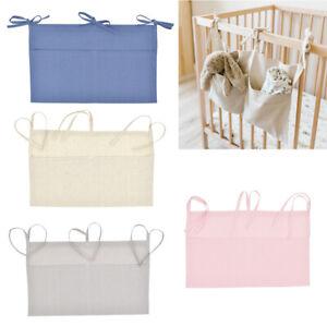 1pc Linen Baby Crib Hanging Storage Bag Baby Cot Bed Organizer Toy Diaper Pocket
