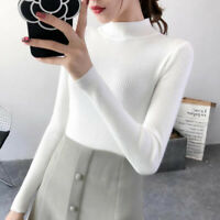 Women Knitted Sweater TurtleneckCashmere Solid Jumper Casual Pullover Winter3CBD