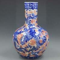 """15"""" Chinese antique Porcelain Qing qianlong mark blue white dragon Phoenix vase"""