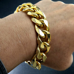 Heavy Men's 18k gold vacuum plating Bracelet bangle 15mm width