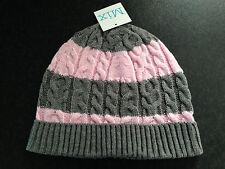 BNWT Ladies Teenage Girls Mix Brand Pretty Pink Grey Stripe Knit Beanie One Size