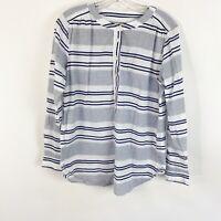 Ann Taylor LOFT Striped Henley Utility Blouse Long Sleeve Womens Size Small S