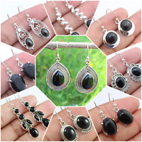 BLACK ONYX 925 SOLID STERLING SILVER HANDMADE EARRING IN ROUND,PEAR,OVAL,SQUARE