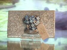 Kirks Folly  forget me not floral antique silver Buisness Card Holder case