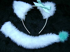 White & Aqua Cat Ears & Tail With Silk Bow Faux Fur And Marabou Fancy Dress