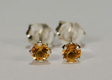 BEENJEWELED GENUINE NATURAL MINED CITRINE EARRINGS~STERLING SILVER~3MM