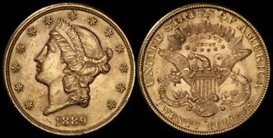 UNITED STATES 1889S $20 Liberty head. Lustrous UNC. Gold.