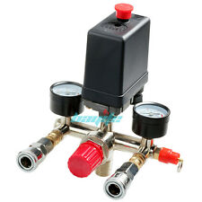 90-120PSI Air Compressor Pressure Switch Manifold Regulator Gauge Quick Couplers