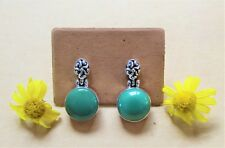 925 Sterling Silver Handmade Round Turquoise Gems Hinged Earrings