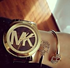 New Michael Kors MK5788 Runway MK LOGO gold brown tortoise women's watch +MK box