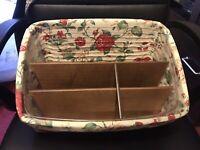 Longaberger Large Desktop Basket Set/Dividers/Protector/Heirloom Floral Liner