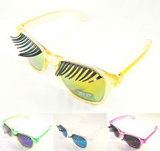 Wholesale 12 Pairs Eyelashes Sunglasses Color Mirror Lens Novelty Glasses Party