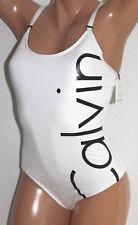 * Calvin Klein Logo White 1 One Piece Swimsuit Size 14 #K29