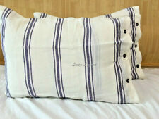 Two French chic washed Linen Pillow Case blue and white Stripes buttons opening