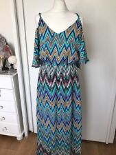 BooHoo Womens Zig Zag Open Shoulder Maxi Dress Size 10