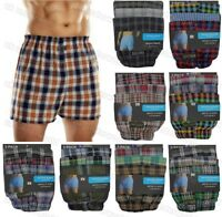 3 Pairs Mens Checked Woven Cotton Loose Fit Boxer Shorts Briefs Adults Underwear