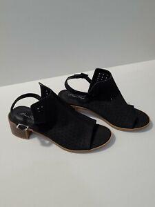 Miss Shop RACHET Suede Peep Tow Sling Back Low Heel Black Shoe - AU10