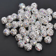 10pcs Quality Czech Crystal SILVER PLATED Charms Spacer BEADS 6MM 8MM 12MM