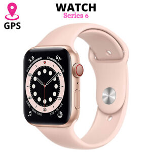 I8 PRO- Watch Series 6 (GPS, 44mm) Aluminum Pink Sand Sport Band Gold