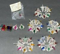 40 Vintage Replacement Flower Shrouds With Push In Multi Color Christmas Lights