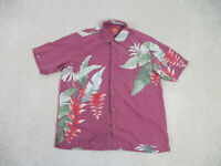 Tommy Bahama Button Up Shirt Adult Large Red Green Floral Silk Casual Mens A38*