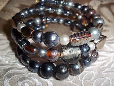 Hand Crafted BLACK Glass BEAD Memory Wire Wrap Bracelet Beach Gypsy D-133