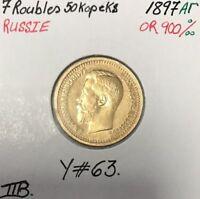 RUSSIE - 7 ROUBLES 50 KOPEKS 1897 A - Pièce de Monnaie en Or // TTB