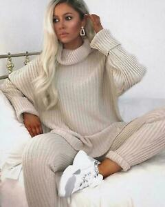 Ladies Women's Chunky Knitted High Roll Neck Top Bottom Loungewear Tracksuit Set