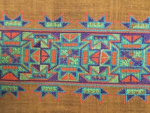 Vintage 1970s Embroidered Picture Abstract Art - 11x28 inches
