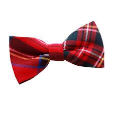 Red Royal Stewart Mens Bow Tie Woven Tartan Adjustable Pre-Tied Necktie by DQT