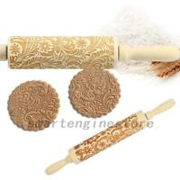 Christmas Wooden Embossed Dough Rolling Pin Engraved Pastry Cookies Baking Tool