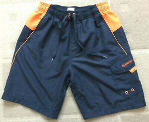 Speedo Men's Size Medium Navy Orange Elastic Waist Board Surf Cargo Shorts