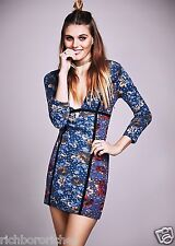 NEW Free People blue Special Edition Mixed Floral Print Stretch Bodycon Dress 8