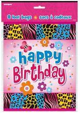 """Wild Birthday"" Party Supplies LOOT FAVOR BAG (Animal Print,Flowers,Butterflies"