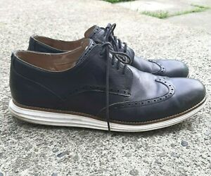 COLE HAAN Mens Size 12 M Black Leather ZeroGrand Wing Tip Lace Shoes White Sole