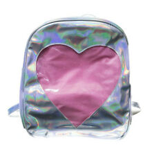Ita Bag - Holographic Silver Heart Window Back Pack Anime Manga NEW