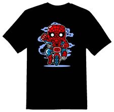 Spidey minibike cartoon character funny Tee shirt black or white
