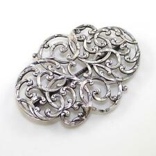 Victorian Sterling Silver Estate Antique Scroll Scarf Holder Pin Ldb15