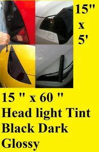 "15"" x 60"" Black Dark Glossy Tint Headlight Taillight Vinyl Film Sheet any car"