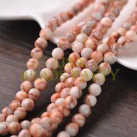 50pcs 6mm Round Natural Stone Loose Gemstone Beads Red Vein Stone