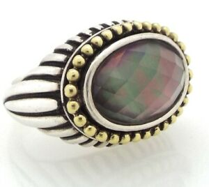 Lagos - Caviar Ring - Black Mother of Pearl - Sterling Silver w/ 18K Gold ~#3412