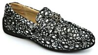 Mens Casual Shoes Moc Toe Slip On Loafers Silver/Black Lace & Sequin STACY ADAMS