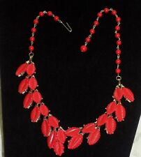 """VINTAGE RED LEAVES CHOKER NECKLACE PRETTY . 17"""" PLASTIC THERMOSET?"""