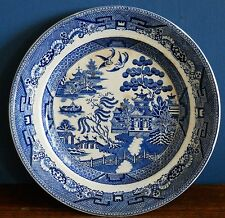 An antique Maling blue Willow Dinner Plate [imperfect]