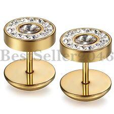 10MM Men Women Stud Earrings Stainless Steel Illusion Tunnel Plug Screw Back 2pc