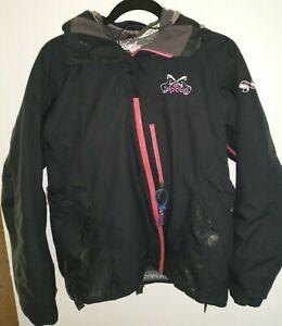 RIP CURL Kid Juniors M / 7 Black Hooded Guitar Ski Jacket Recco Avalanche Rescue