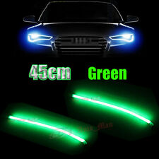 2x 45cm Green Tube Flexible LED Strips Car Motor Headlight Decorative Lights DRL