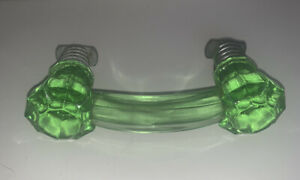 Vintage NOS Green Glass HOOSIER Cabinet Handle Pull Handle THREADED with Sleeve