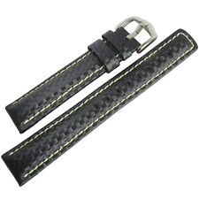 20mm Hirsch Mens Carbon Fiber Style Blue Leather White Stitch Watch Band Strap